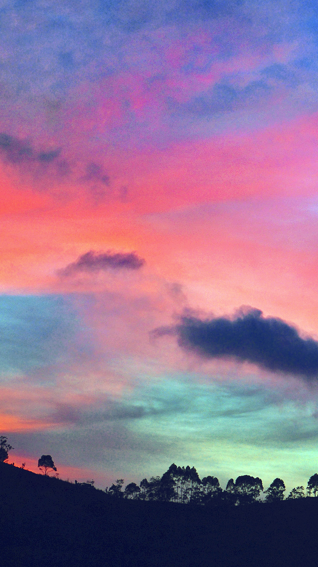 Ng96 Sky Rainbow Cloud Sunset Nature Blue Pink Wallpaper
