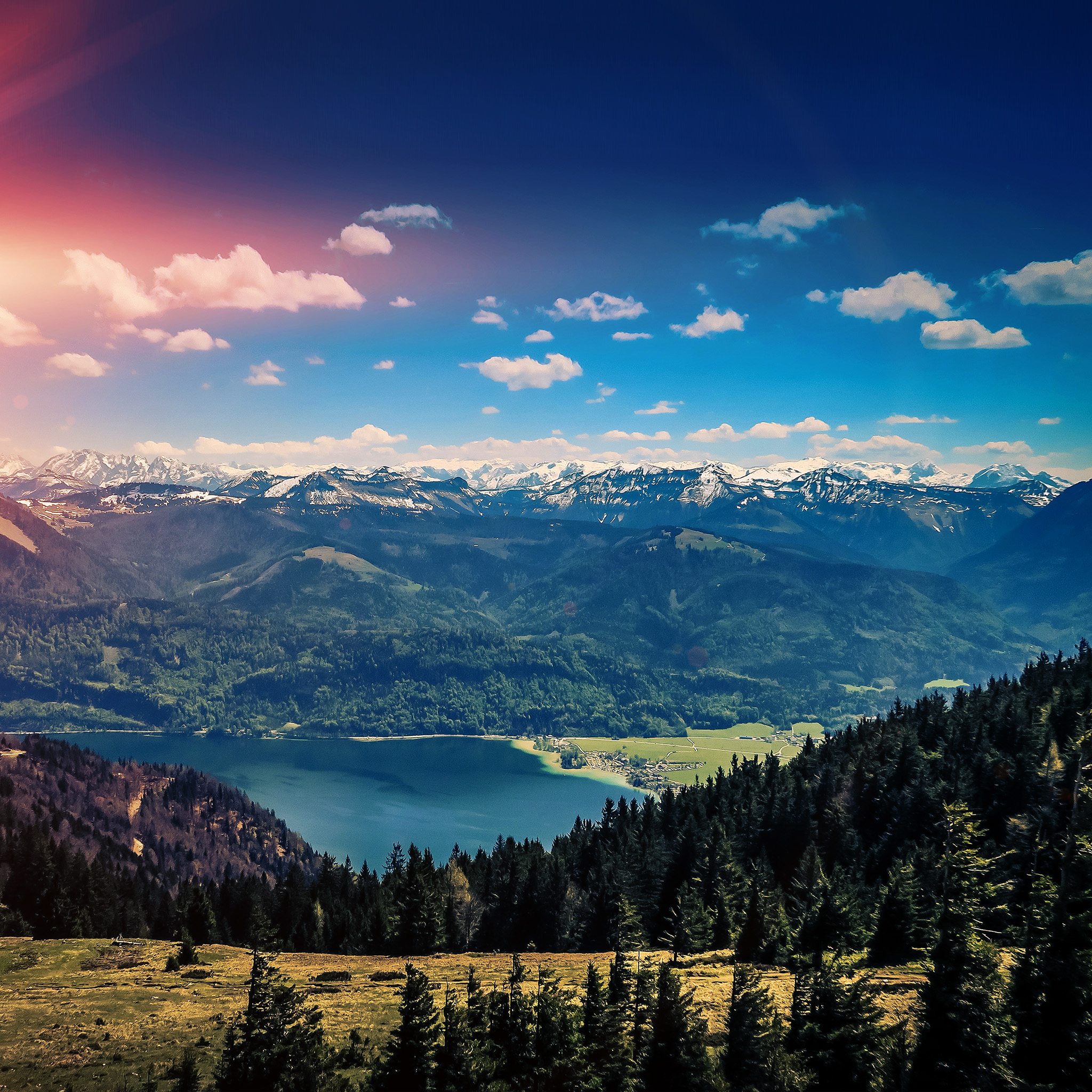 Moto G Plus >> nh94-mountain-sky-river-nature-scenery-summer-dark-wallpaper