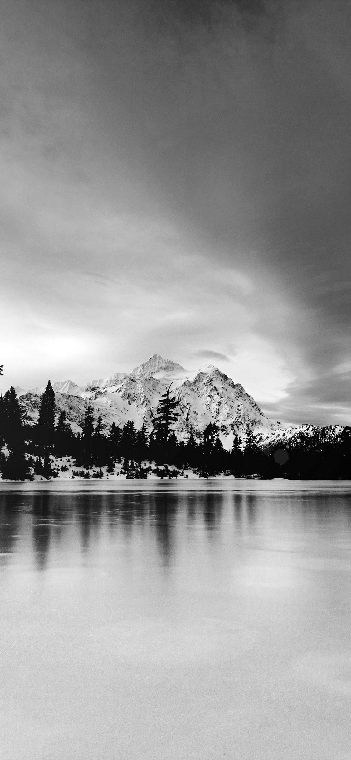 ni39-frozen-lake-winter-snow-wood-forest-cold-bw-dark ...