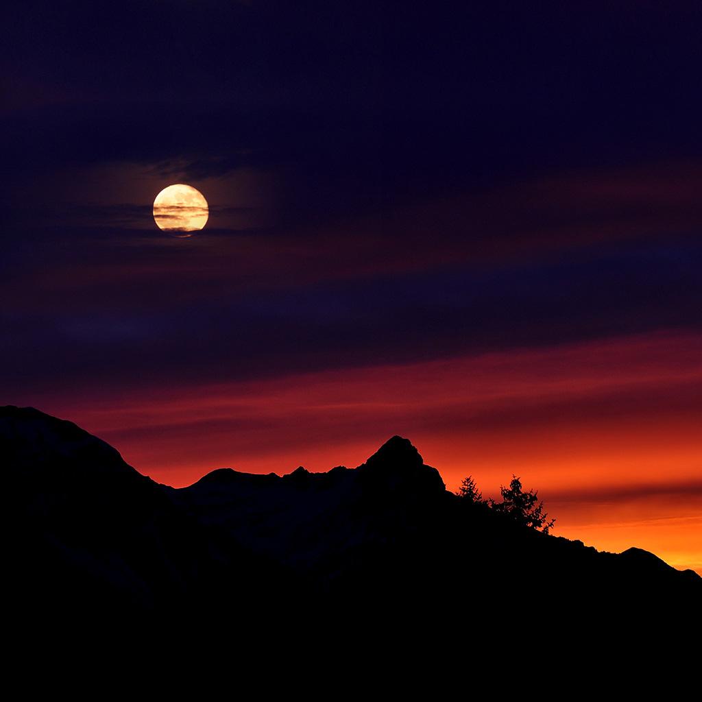 Ni64-mountain-picks-night-sunset-sky-red-wallpaper