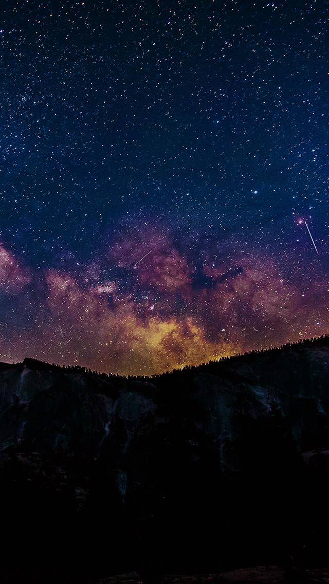 Papers Co Iphone Wallpaper Ni99 Aurora Star Night Sky Space Blue Mountain Dark