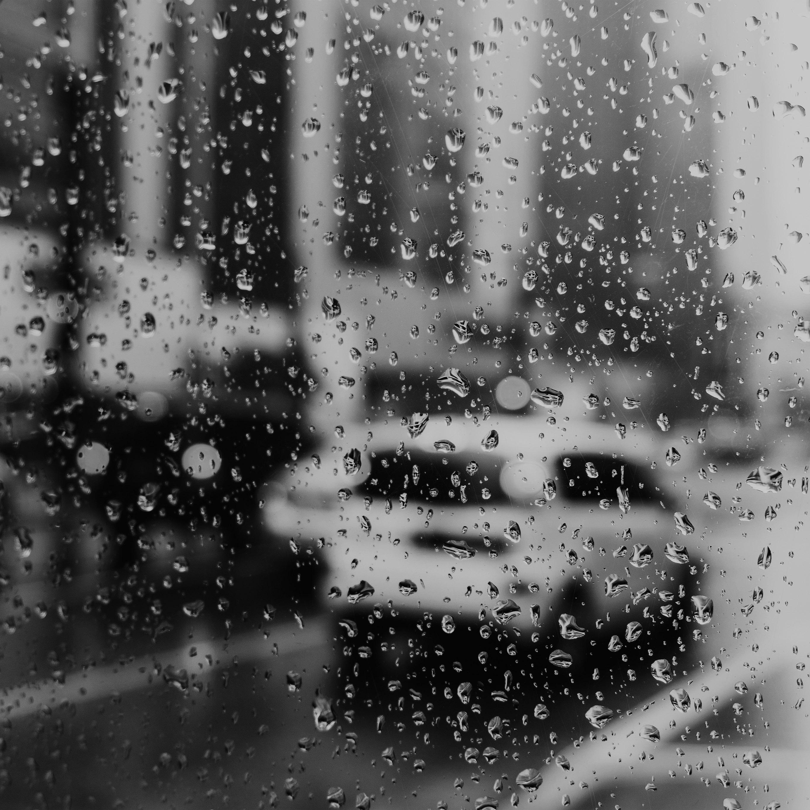 Nj02 Rain Window Bokeh Art Car Sad Bw Dark Wallpaper