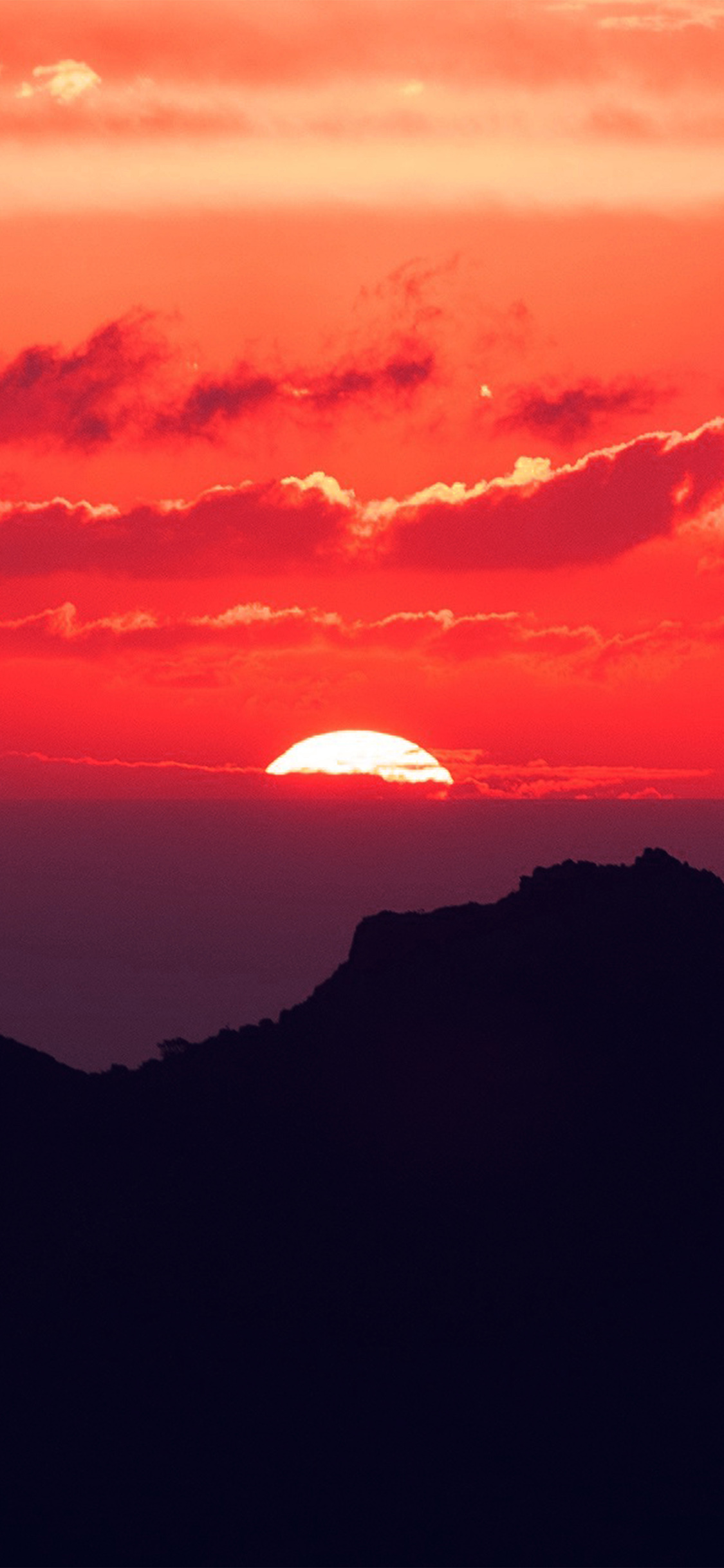 Nk19 Canary Island Sunset Sky Mountain Nature Red Wallpaper