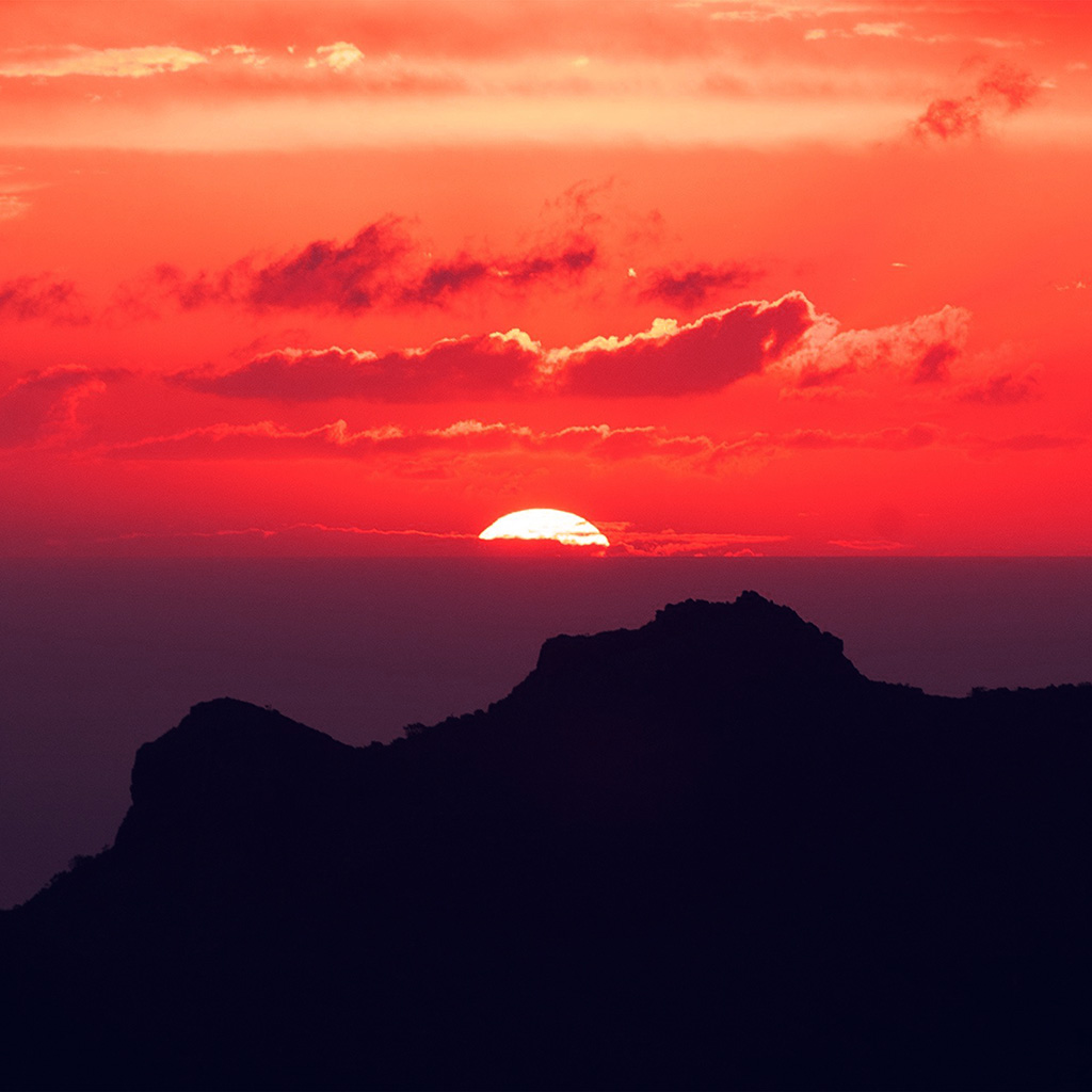 android-wallpaper-nk19-canary-island-sunset-sky-mountain-nature-red-wallpaper