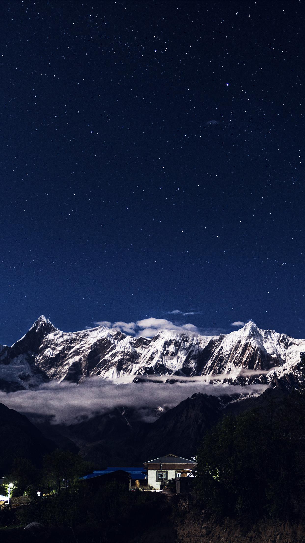 Nk75 Night Mountain Blue Sky Space Star Dark Wallpaper