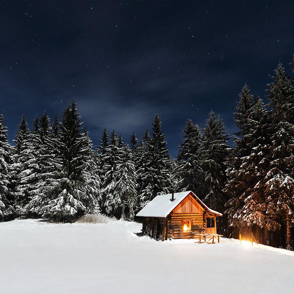 Papersco Ipad Wallpaper Nl37 Winter House Night Sky