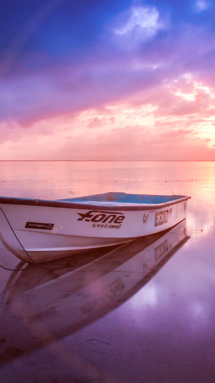 iPhone7papers.com-Apple-iPhone7-iphone7plus-wallpaper-nm00-nature-sea-beach-boat-alone-sunset-blue-pink-flare