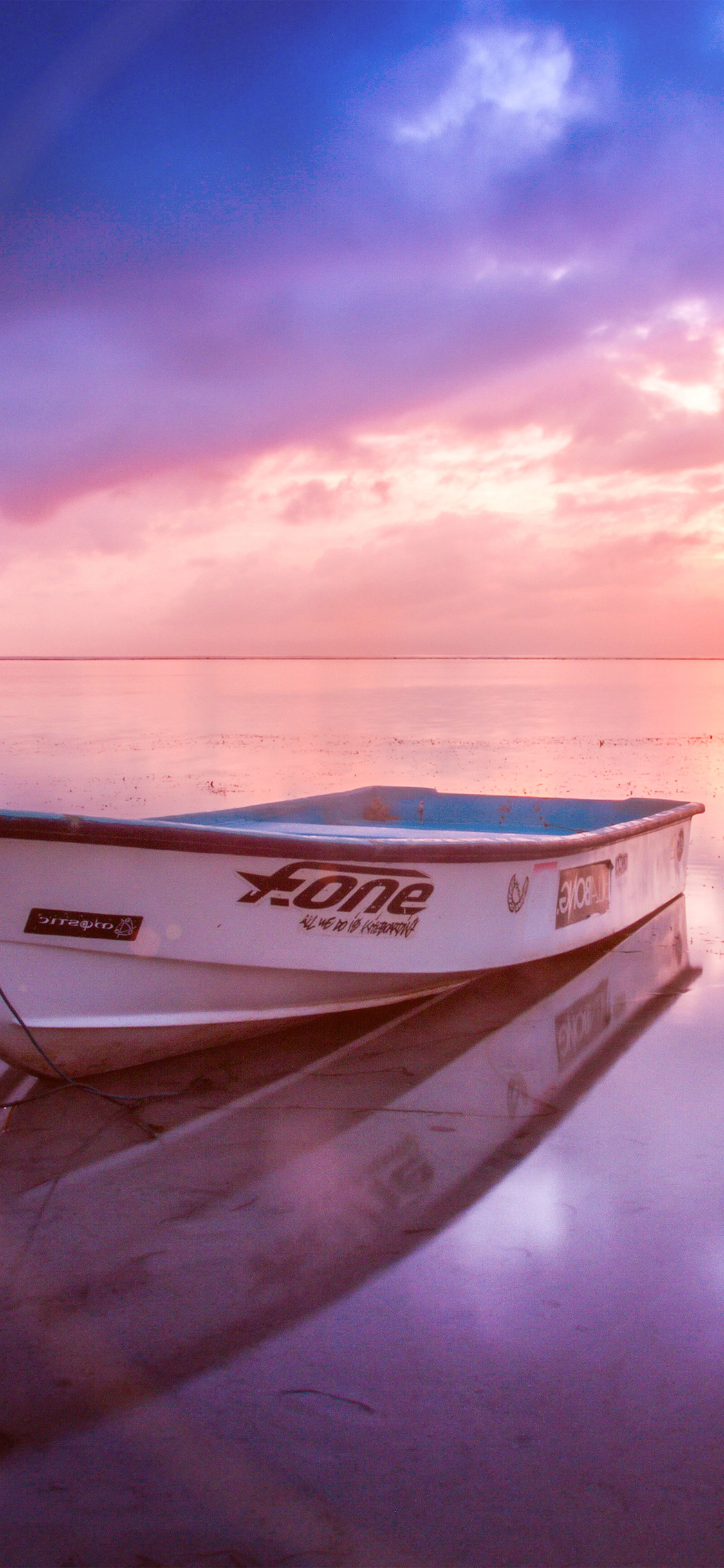 Iphone11papers Com Iphone11 Wallpaper Nm00 Nature Sea Beach Boat Alone Sunset Blue Pink Flare