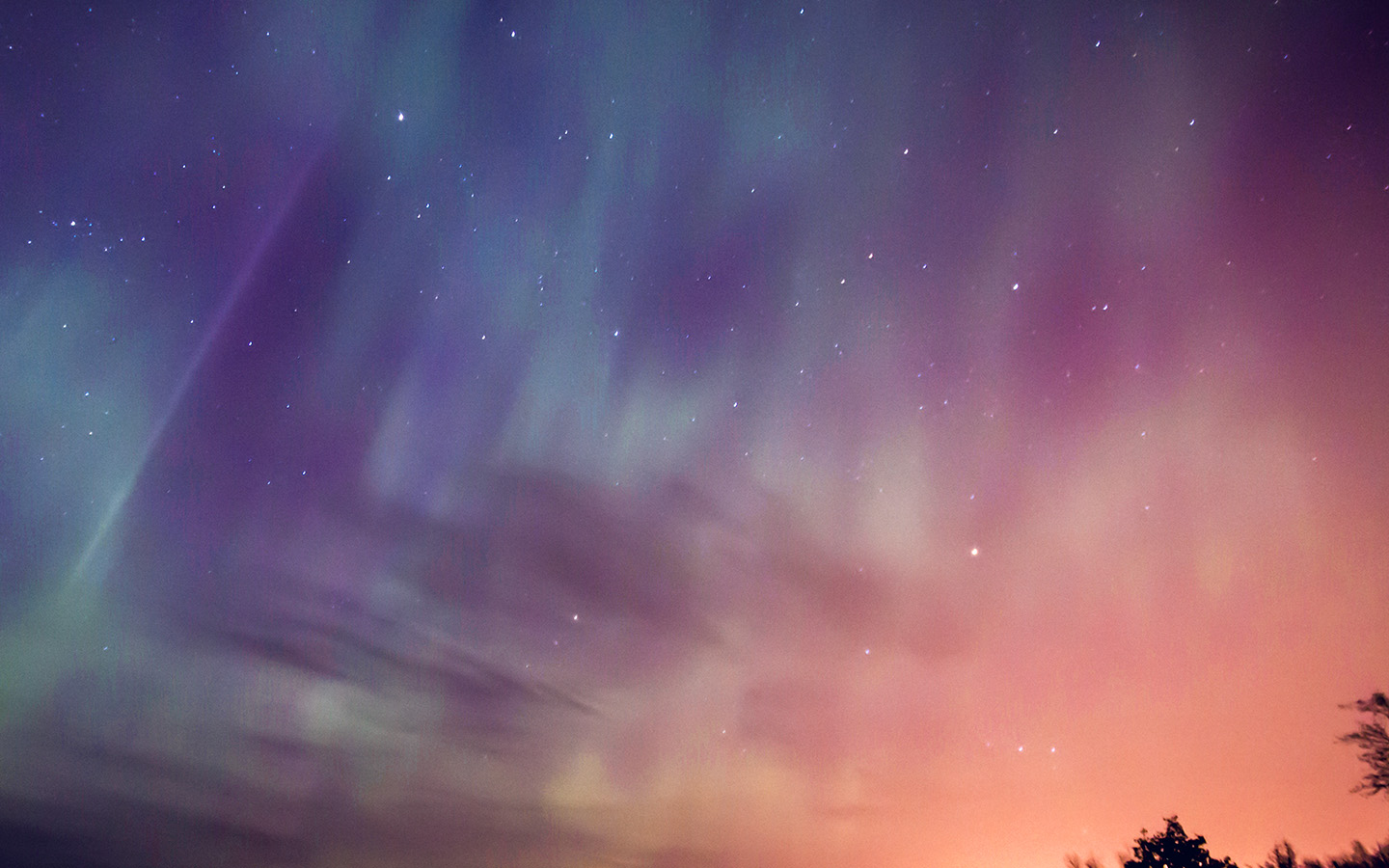 Nn30 Space Aurora Night Sky Red Color Wallpaper