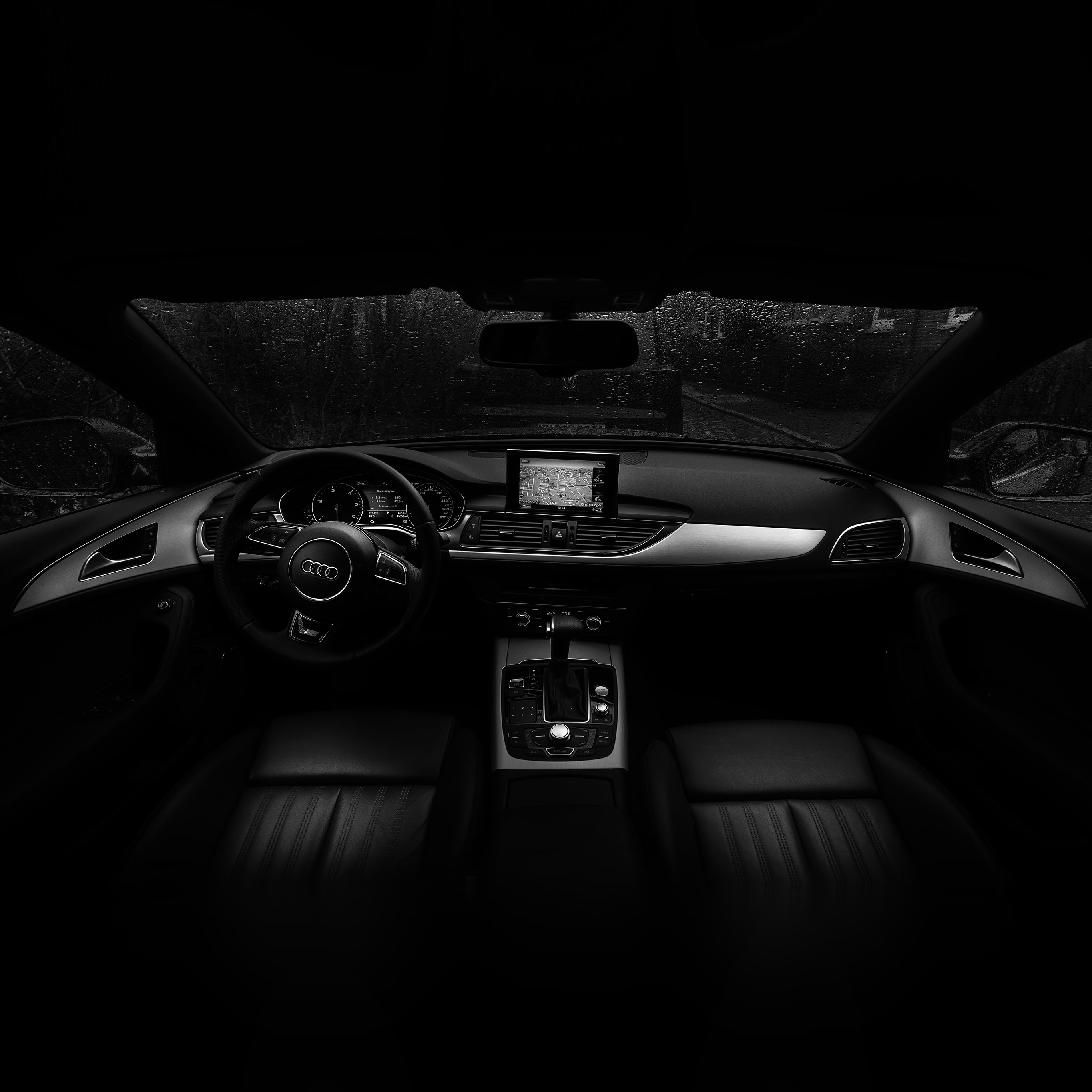 No06 Audi Car Interior Dark Bw Wallpaper