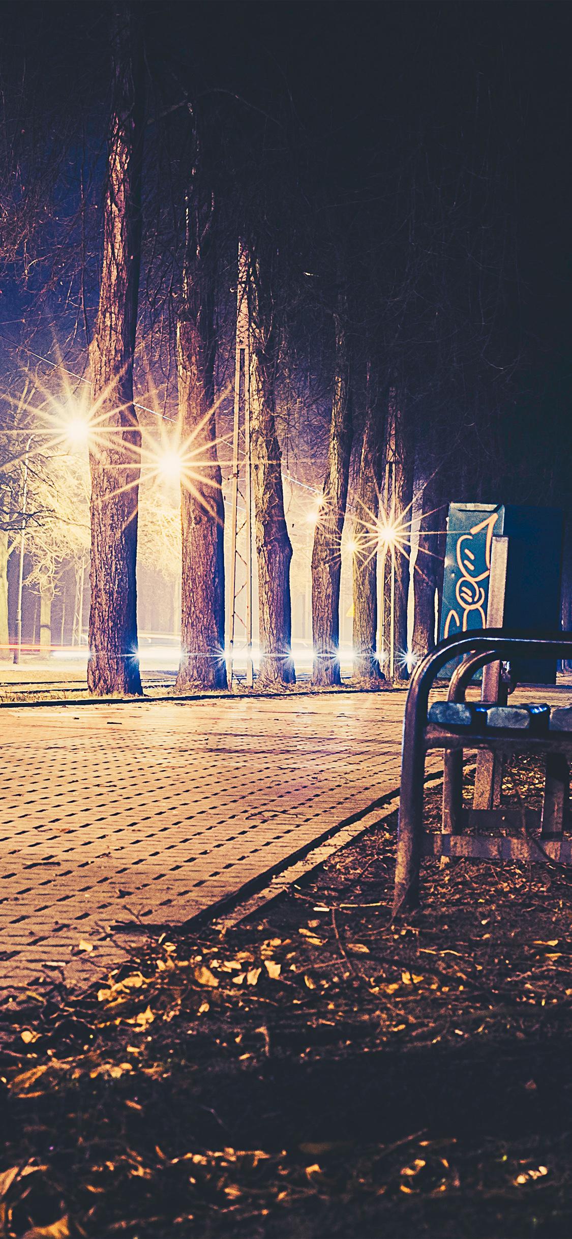 iPhoneXpapers.com-Apple-iPhone-wallpaper-no43-street-night-bench-nature-dark