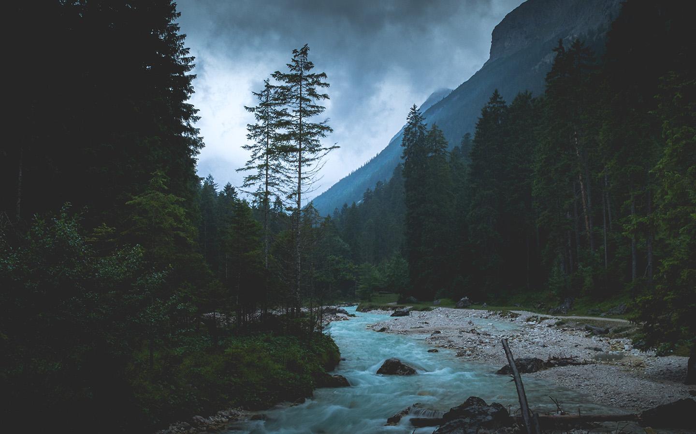 np31 mountain wood night dark river nature wallpaper1440 x 900