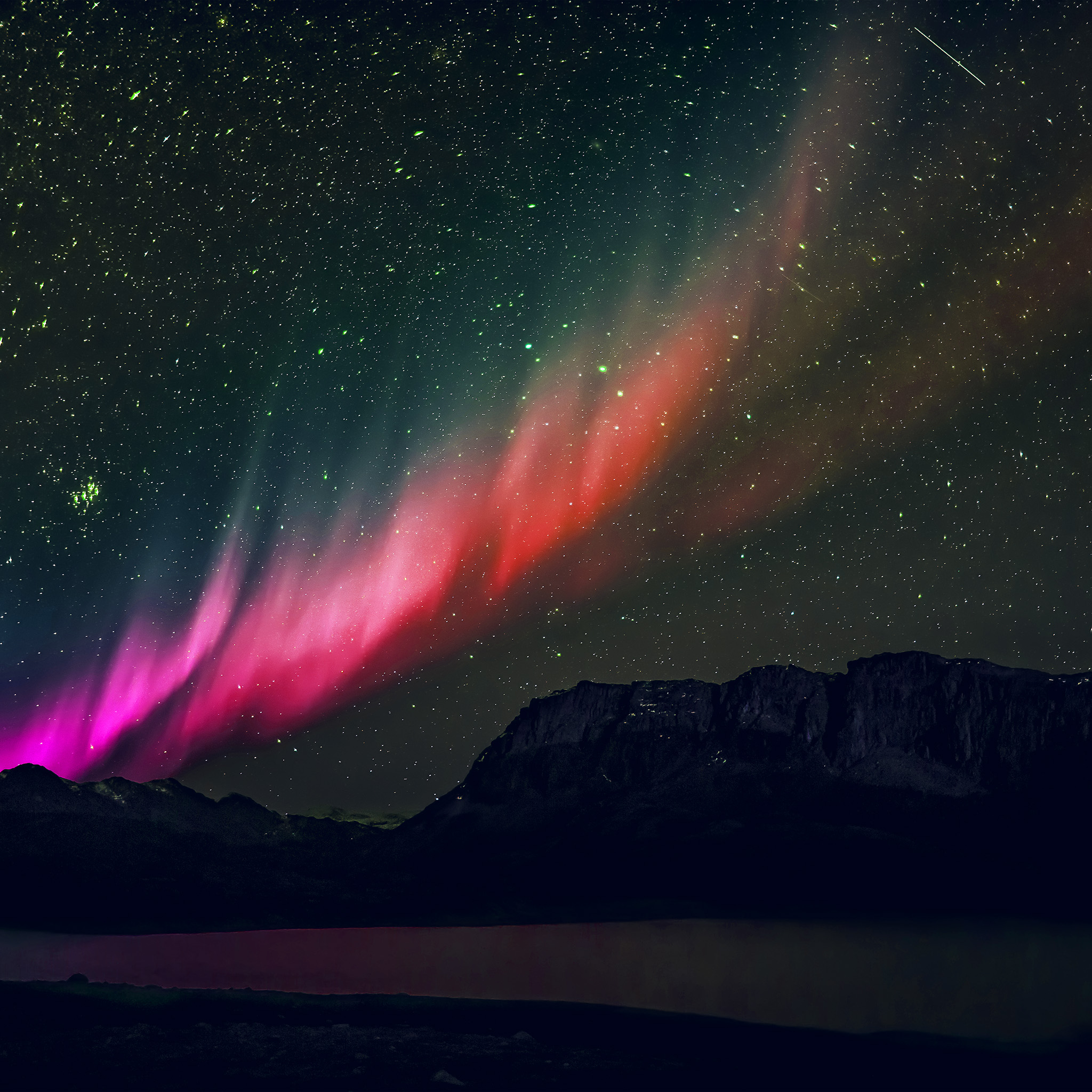 Wallpap: Nq53-aurora-night-sky-mountain-space-nature-rainbow-love