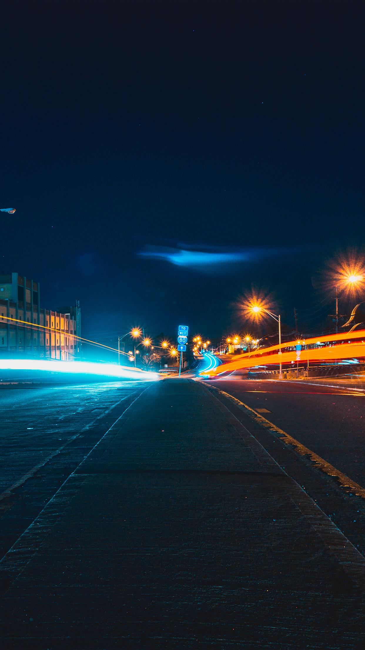 Nq57 Street Light Night City Nature Wallpaper