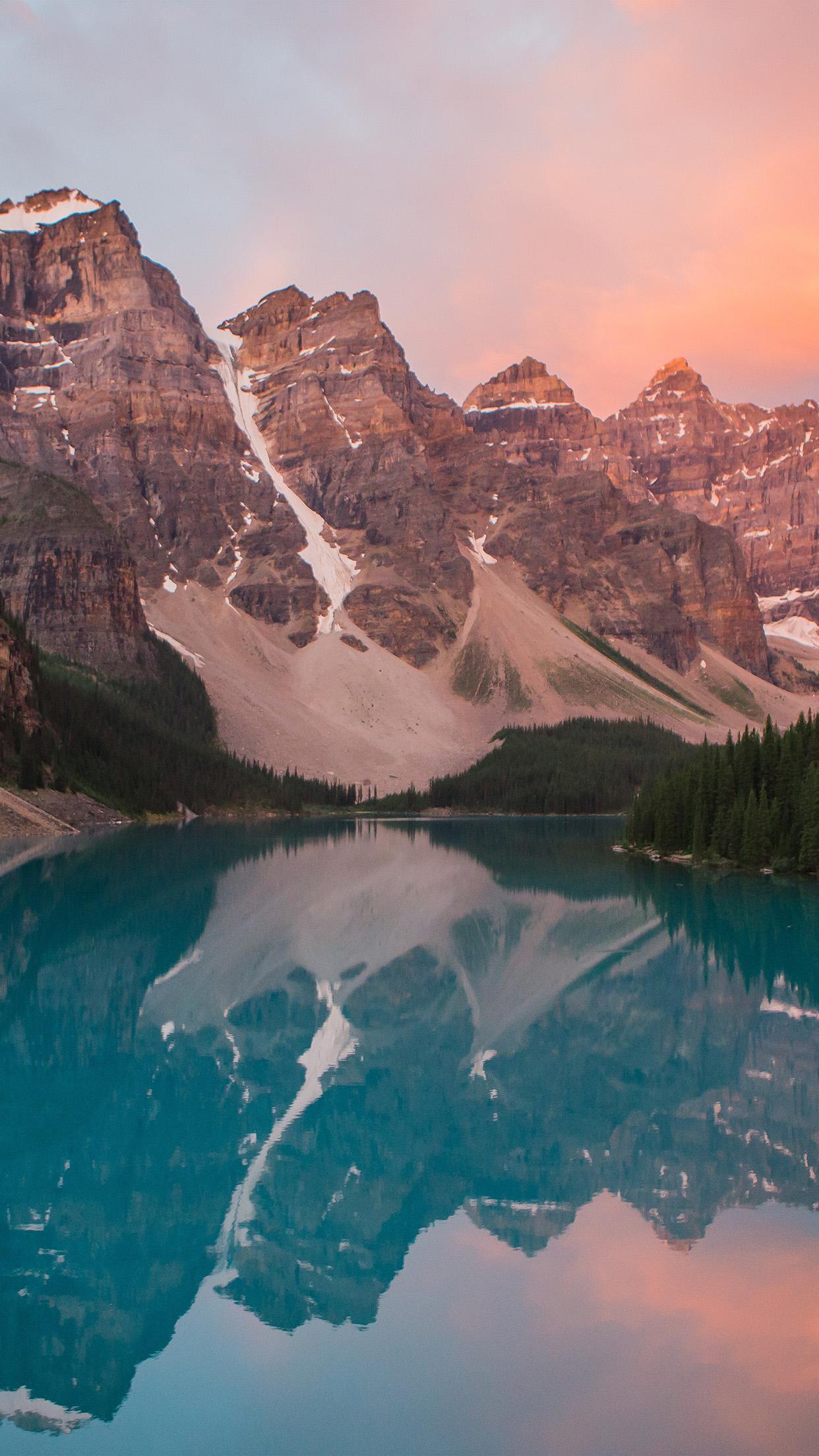 Ns24 Lake Mountain Pink Sunset Nature Wallpaper