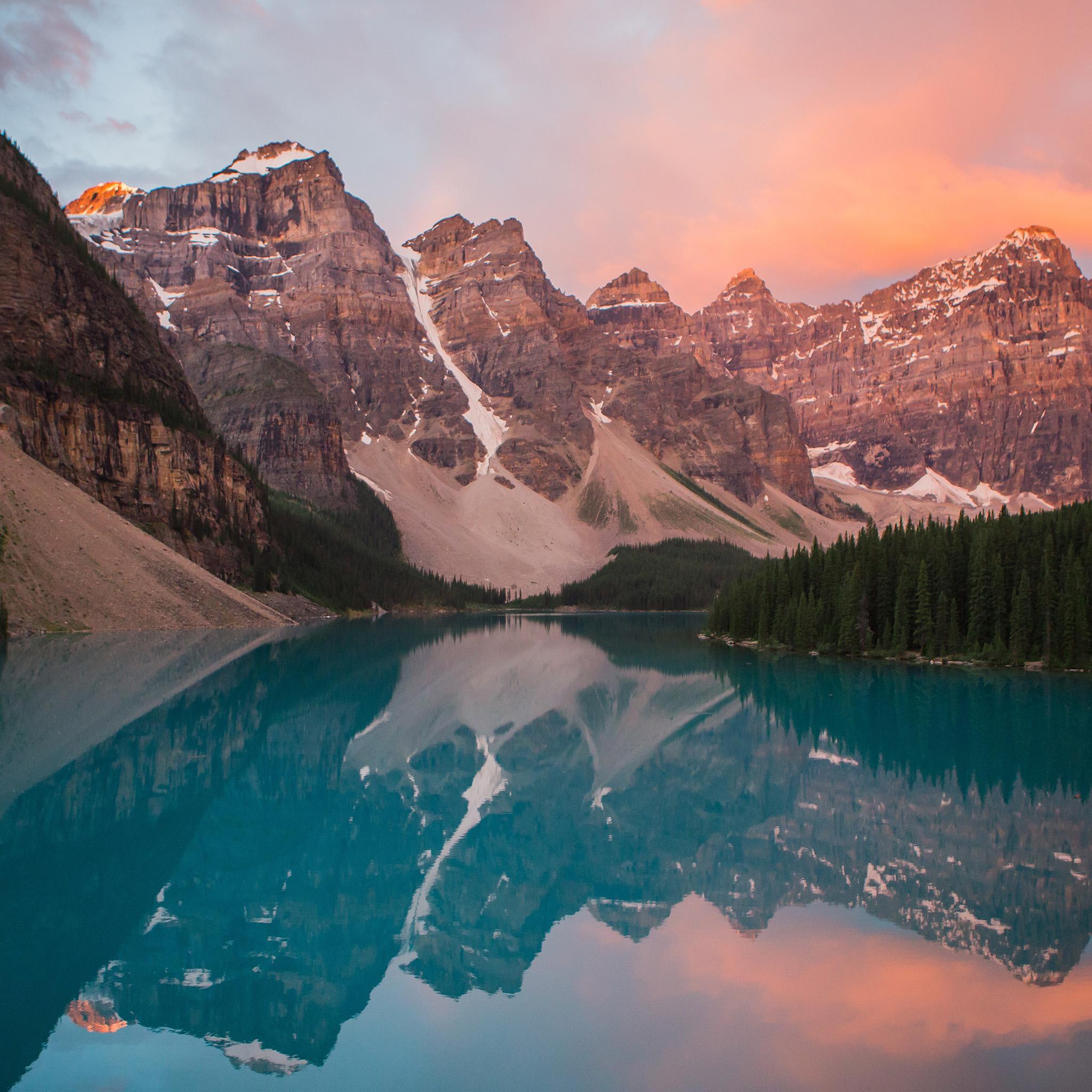 ns24-lake-mountain-pink-sunset-nature-wallpaper