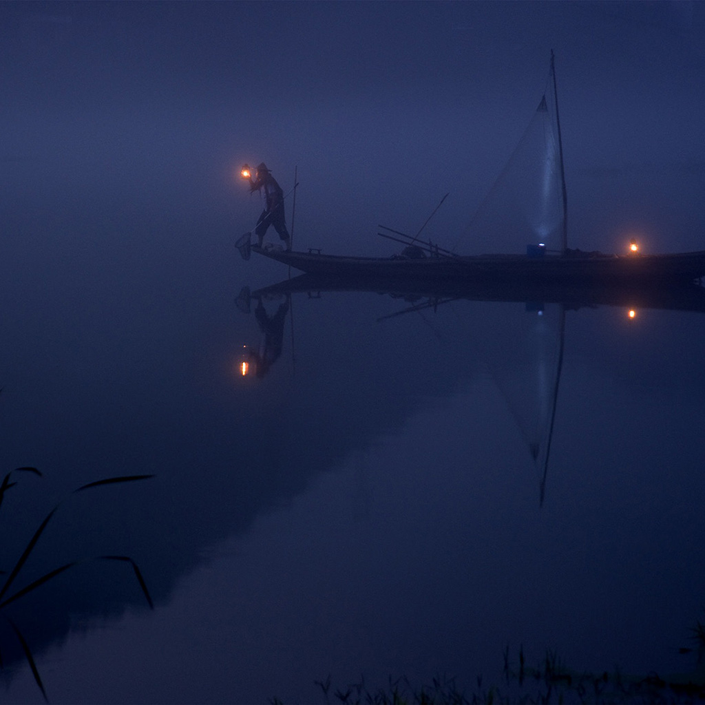 wallpaper-nw86-river-night-boat-blue-nature-wallpaper