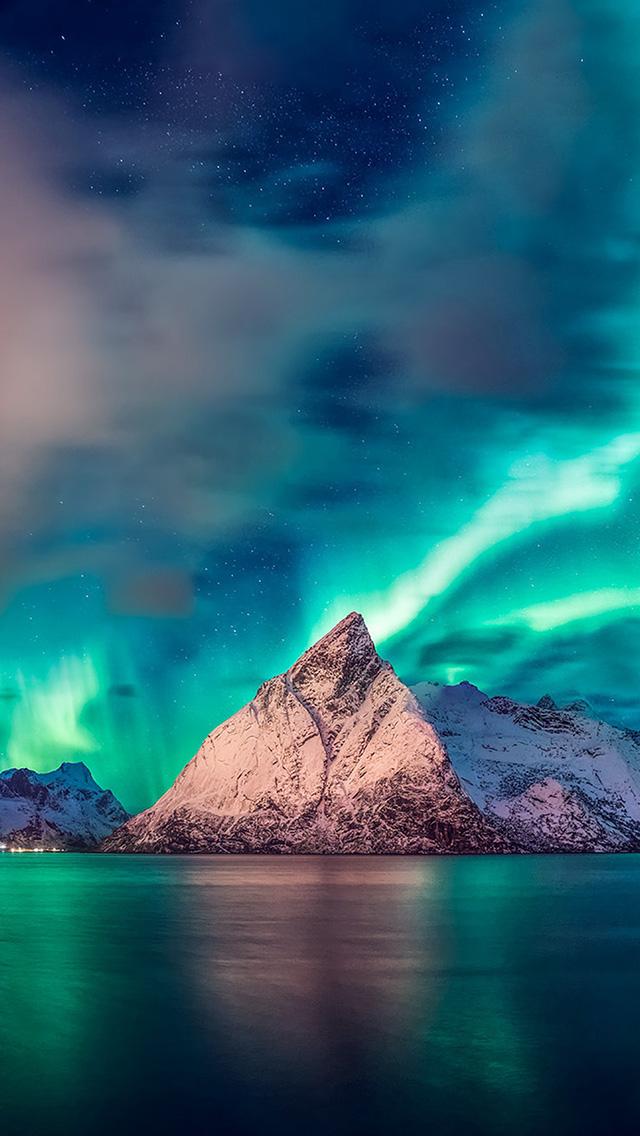 Freeios8 Com Iphone Wallpaper Oa65 Aurora Mountain Sea Nature