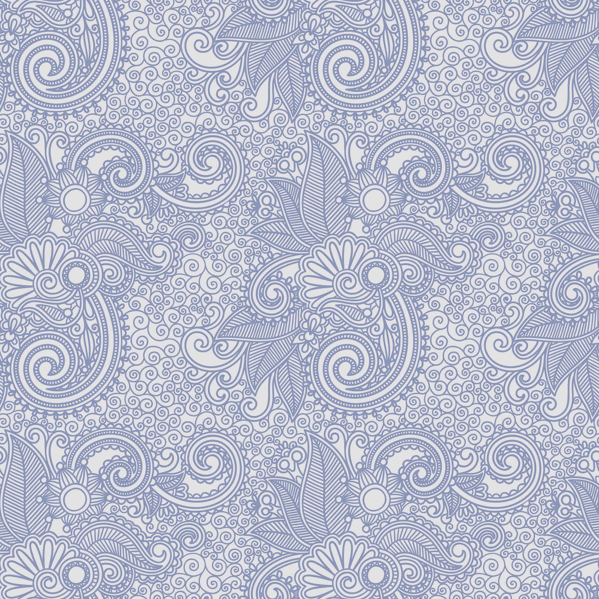 I Love Papers Vk28 Wallpaper Design Flower Line Blue Pattern