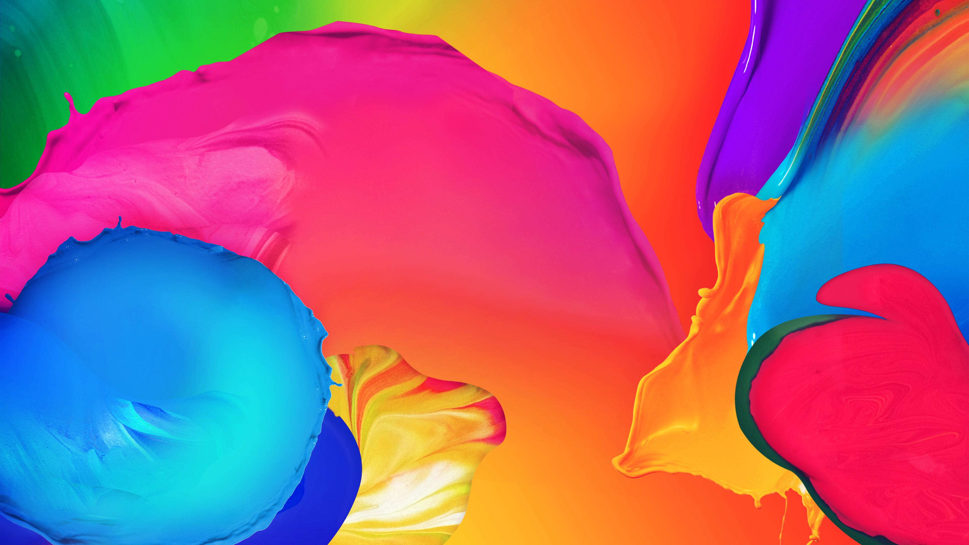 Wallpaper For Desktop Laptop Vn06 Rainbow Color Paint