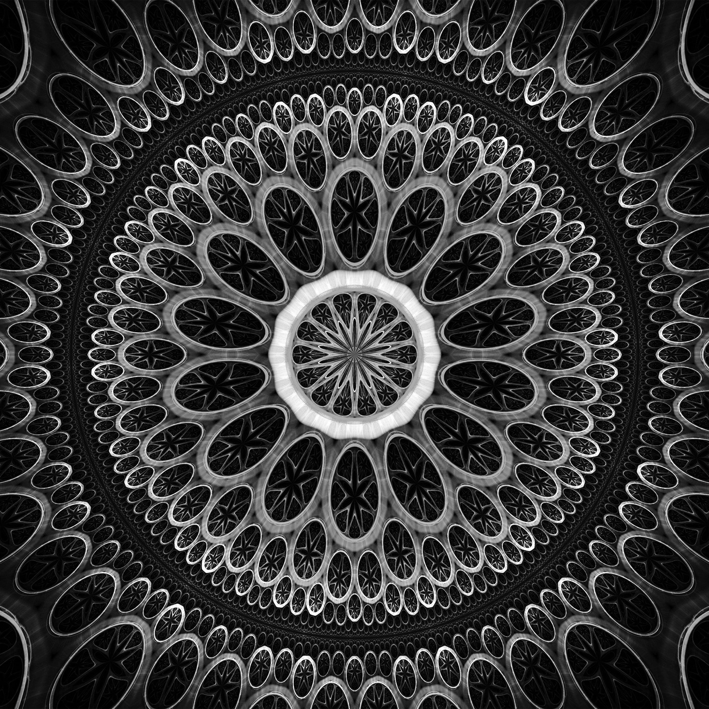 Vn10 Psychedelic Art Pattern Dark Bw Wallpaper