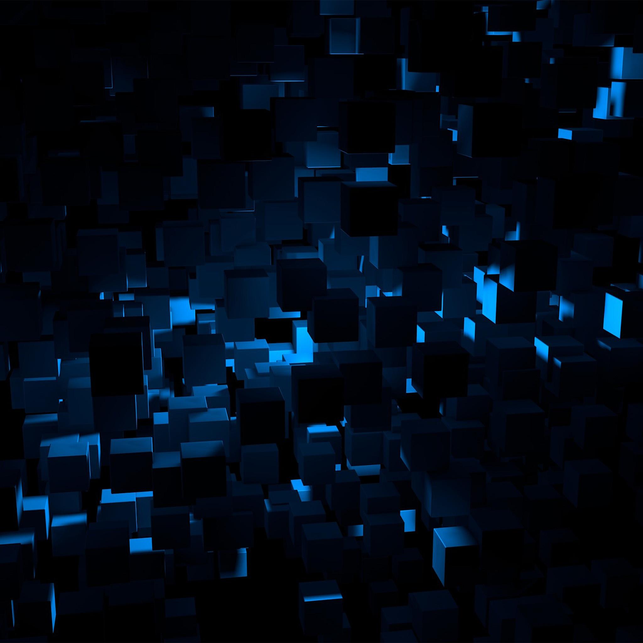Vn22 Cube Dark Blue Abstract Pattern Wallpaper
