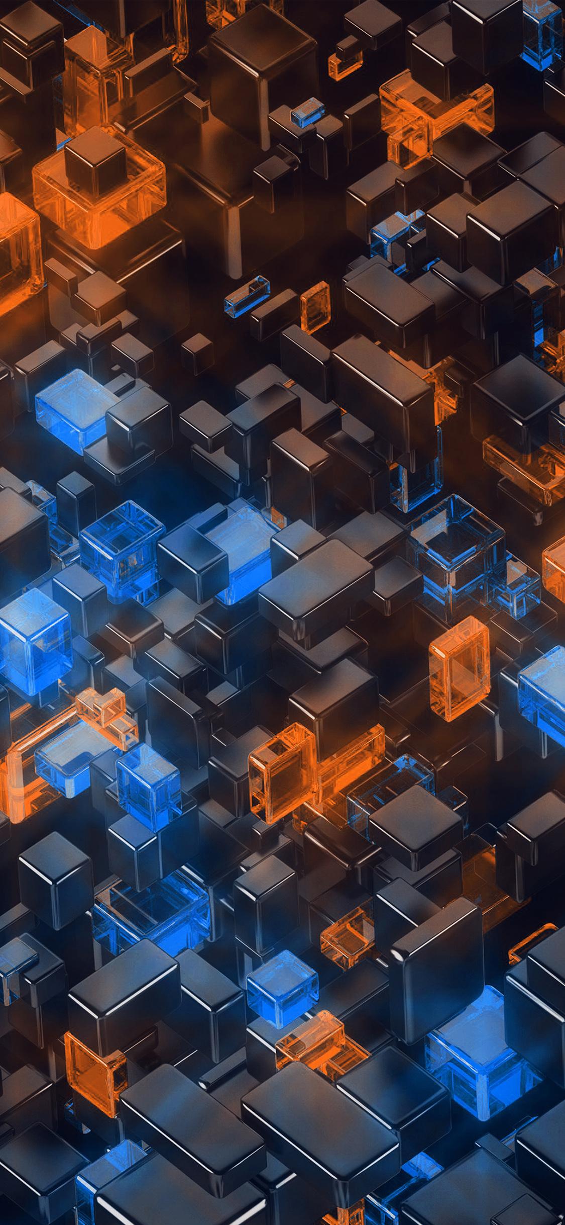 Vp41 Digital Art Blue Orange 3d Pattern Wallpaper