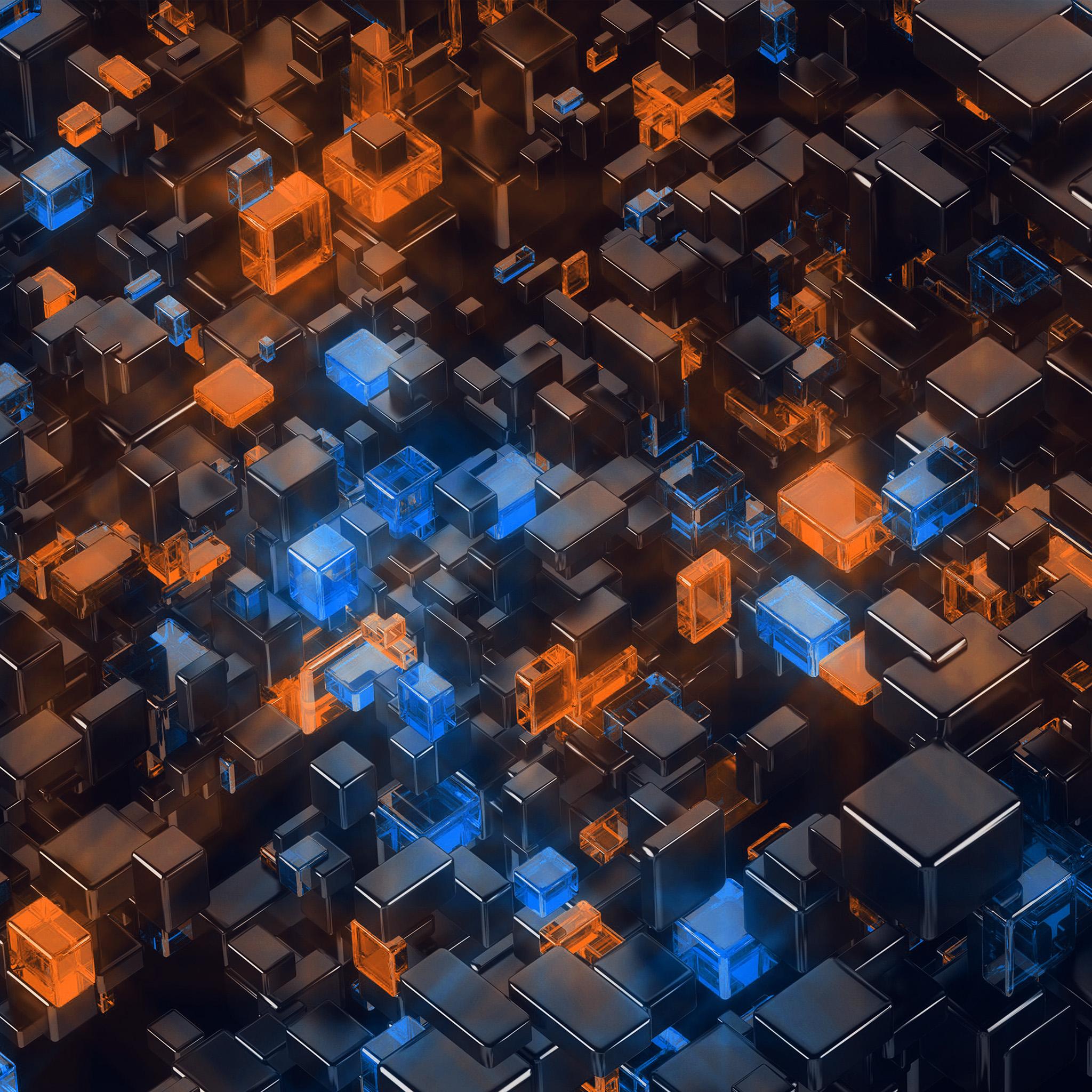 Orange Wallpaper Hd: Vp41-digital-art-blue-orange-3d-pattern-wallpaper