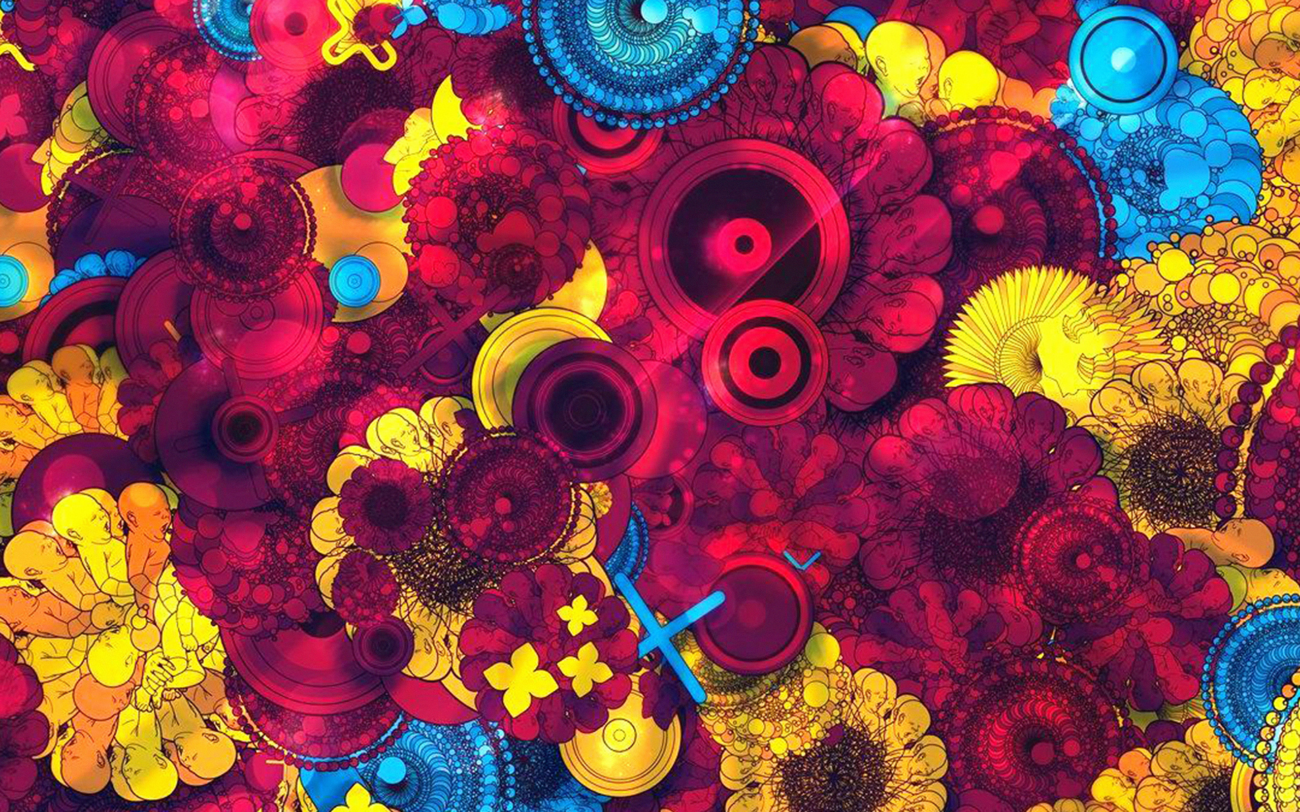 Vq58 Abstract Art Red Blue Yellow Color Pattern Wallpaper