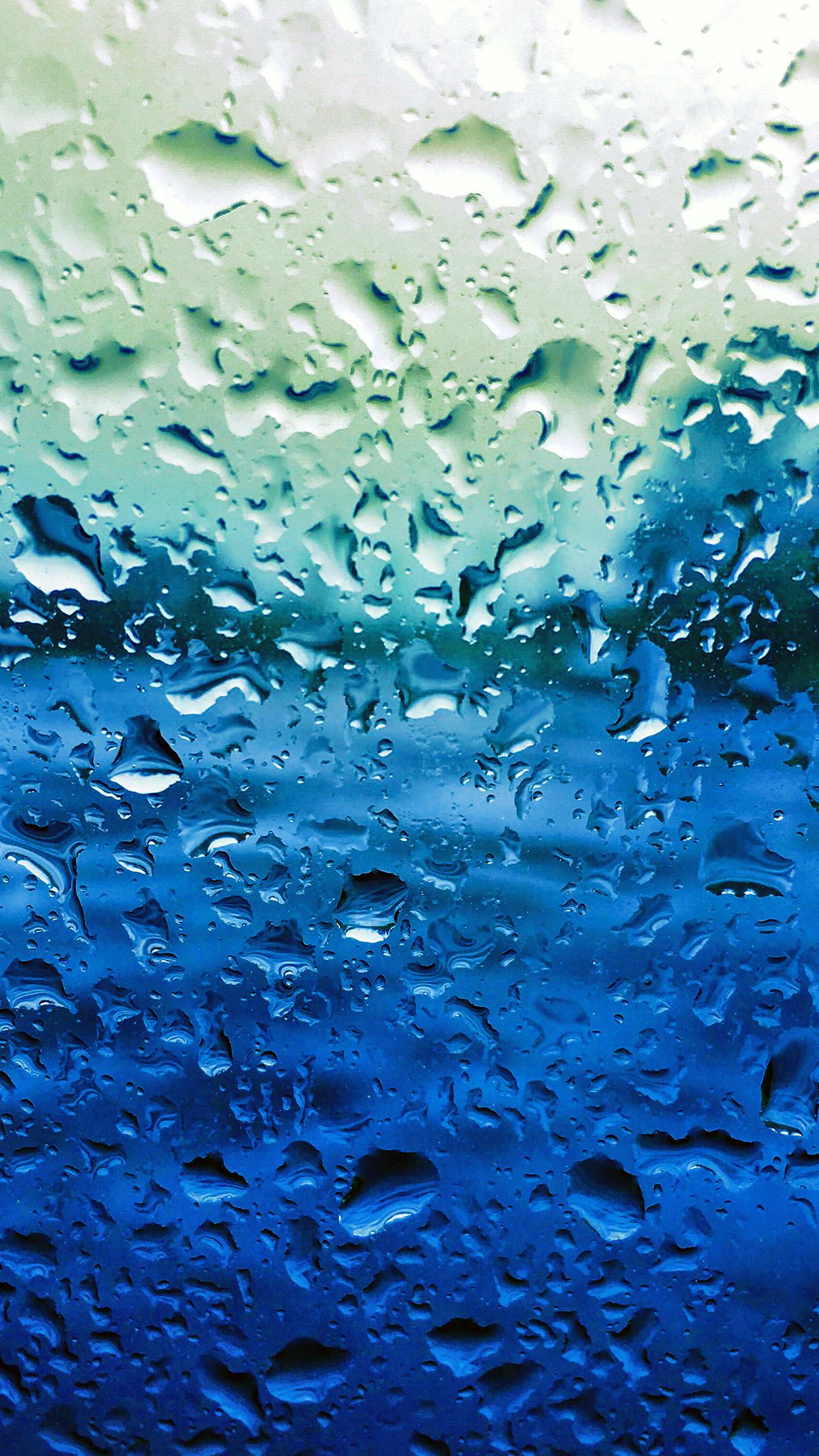 Vr69 Rain Drop Window Blue Sad Pattern Wallpaper