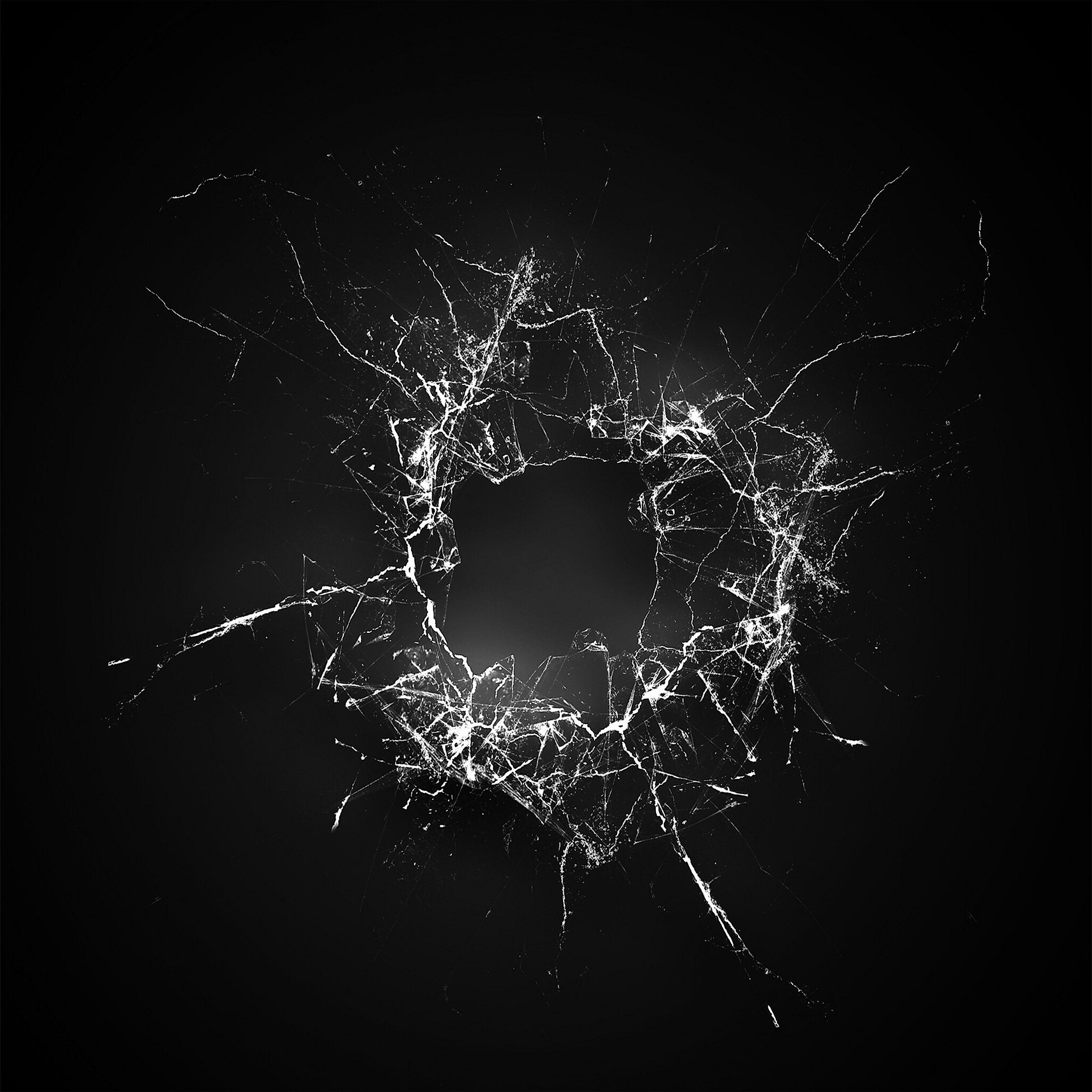 Glass Wallpaper: Vu19-crack-glass-dark-bw-texture-pattern