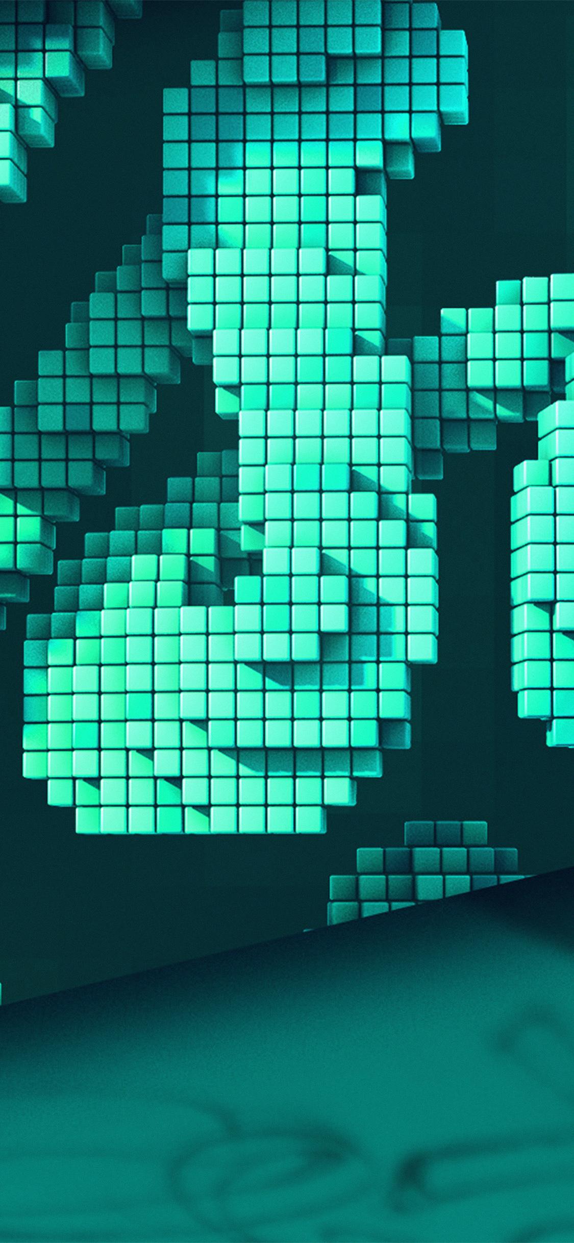 Iphonexpapers Com Iphone X Wallpaper Vw90 Digital Pixel Art Green Pattern Background