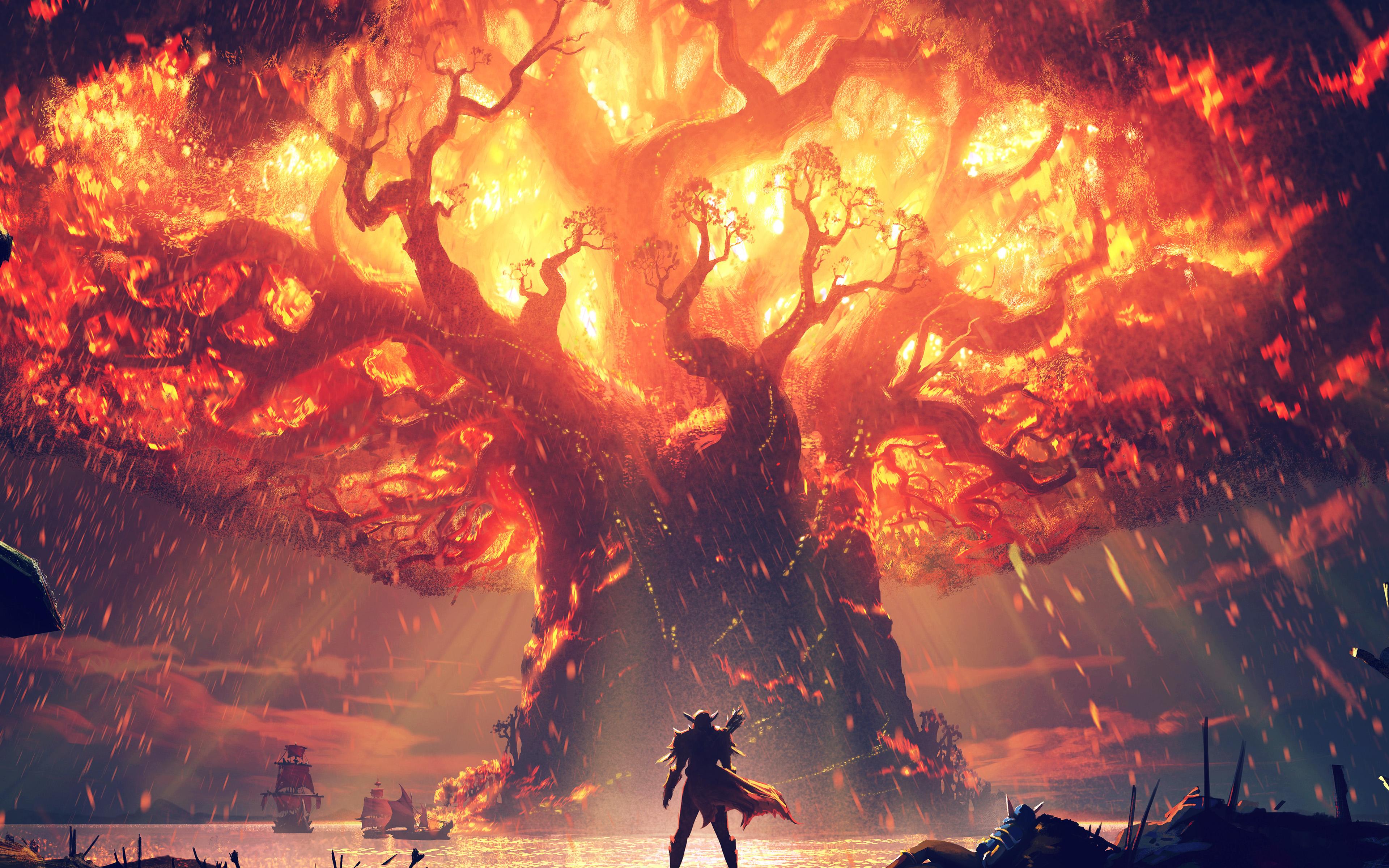 Vy39 Tree Anime Hero Pattern Background Blue Wallpaper