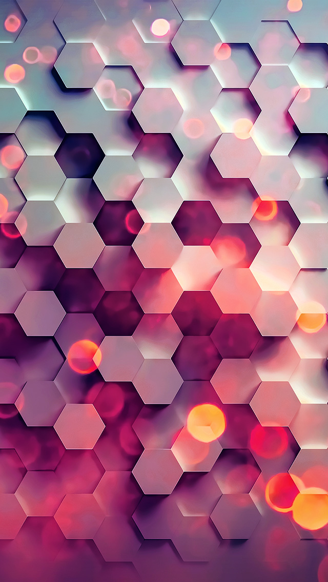 freeios8.com-iphone-4-5-6-plus-ipad-ios8-vy42-honey-hexagon-digital-abstract-pattern-background-red
