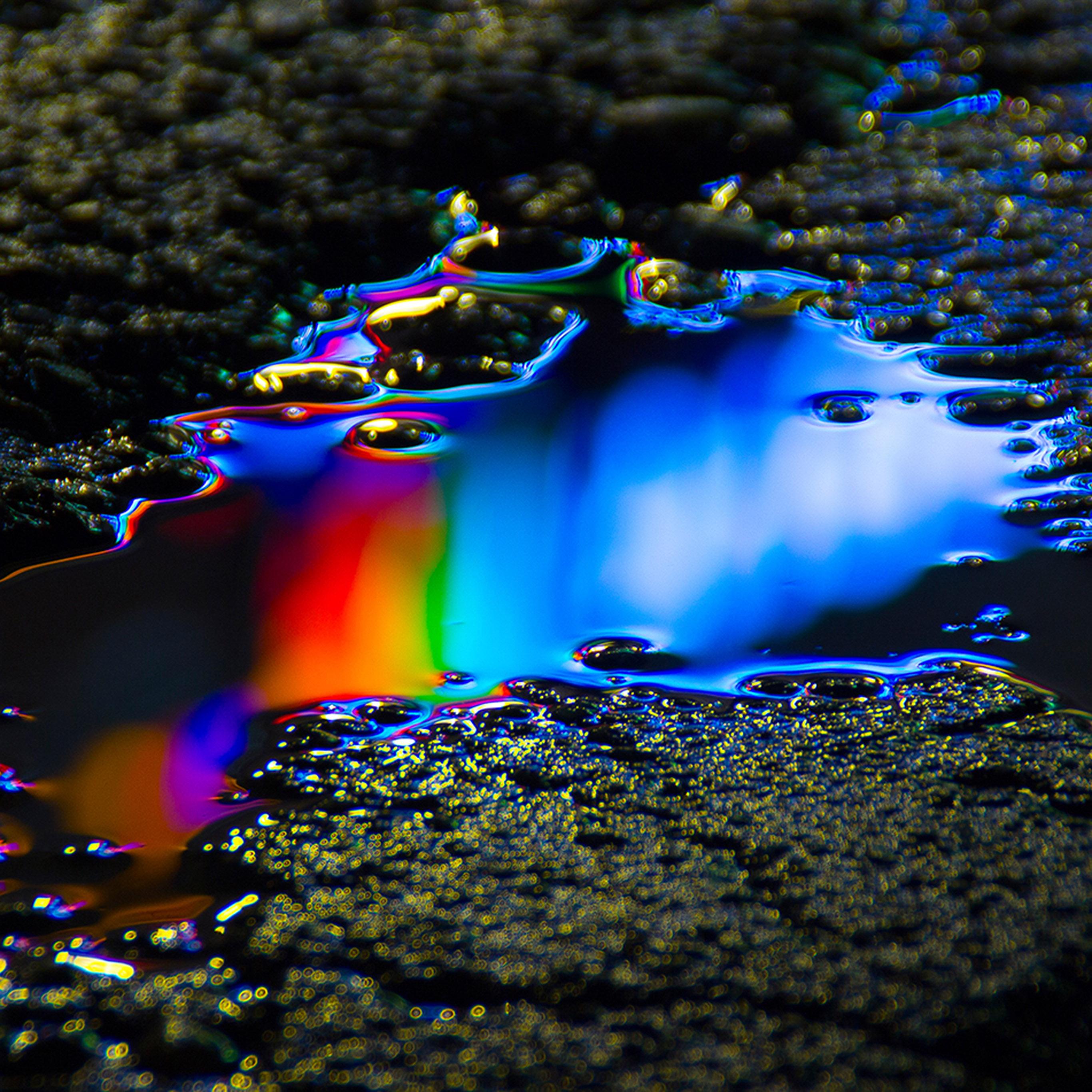 Wb22 Oil Dark Floor Rainbow Color Blue Pattern Background Wallpaper