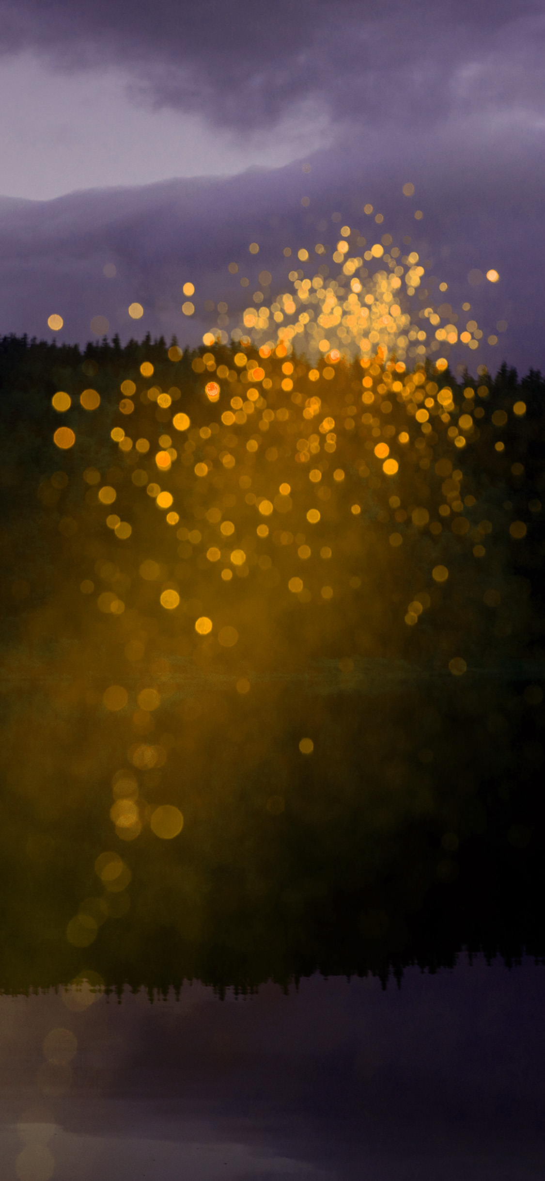 Iphone11papers Com Iphone11 Wallpaper Wb60 Mountain Yellow Light Bokeh Pattern Background
