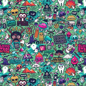 papers.co-aq62-art-work-pattern-illustration-graffiti-green-1-wallpaper